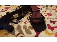 Strappy black/ very dark purple essence sandles size 9