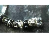 Silver Pandora bracelet and charms