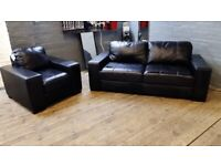 HARVEYS BLACK LEATHER SOFA SET 3+1 SEATER IN NICE CONDITION WITH FIRE LABEL