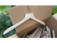 WOODEN COAT HANGERS RETRO VINTAGE STYLE USED VGC! APPROX 50! IN A BOX LEFT IN A STORAGE UNIT IN BHAM