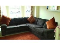 Large corner sofa chocolate brown with double bed built in
