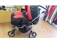 Red & Black Double pushchair