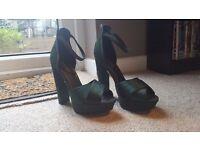 Never worn satin green heels, UKsize6 £20