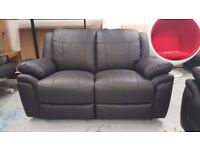 ScS Leo Black Leather 2 Seater Manual Recliner Sofa **Can Deliver**