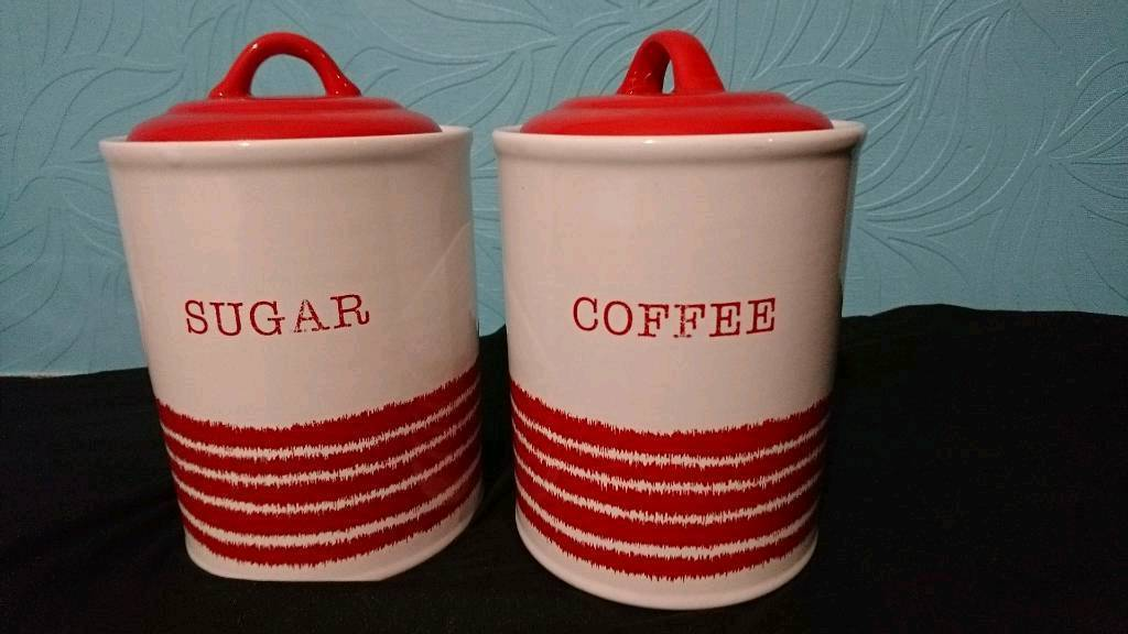 Red and white ceramic pots