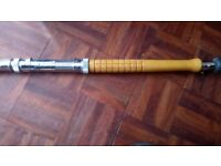 Vintage Fishing rod . Marco. 11ft Varne carved wood handle with polished clips modalock