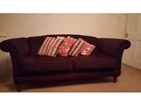 Plum/purple Marks and Spencer 3 seater sofa, 2 years old