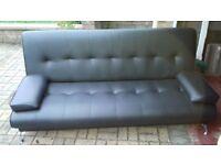 Black leather effect 'Clic clac' sofa/sofa bed