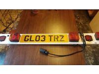 Trailer or Bike Rack Number Plate Holder with Lights