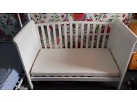 Tuscany Cot Bed white. Spring interior mattress. Babies R Us. Turns into sofa. Bournemouth