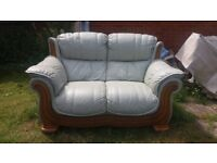 2 seater leather settee in spearmint