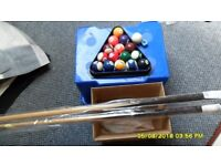 snooker cue x 2 and balls, triangle and chalk