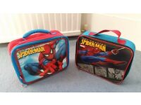 2 Spider-Man Lunch Bags, Includes Name Labels, Good condition, Contact me soon as, Cheap Both for £5
