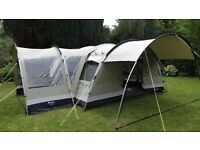 Outwell Bear Lake 6 with side porch. Polycotton fabric. In excellent condition. Carpet included.