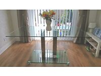 Large glass and chrome dining table 160 cm x 90cm £50