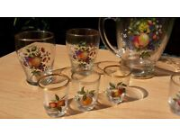 Retro vintage gold rimmed glass pitcher jug and glasses picnic bbq 60s 70s