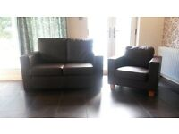Modern dark brown leather effect suite 2 seater sofa and armchair