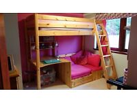 Thuka High Sleeper, complete with desk, bookcase