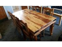 Indian Sheesham solid oak dining table and 6 jali chairs