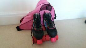 Roller Skates with pink bag