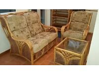 Conservatory Cane Furniture Set - 2 Seater Sofa / Armchair & Coffee Table