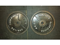 Pair of Bodypower 20kg cast iron olympic weight plates