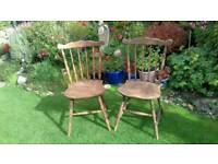 Oak dining chairs (a pair)