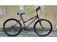 "Ladies 17"" town bike in Burgundy like new street cruiser bicycle Challenge Meander hybrid"