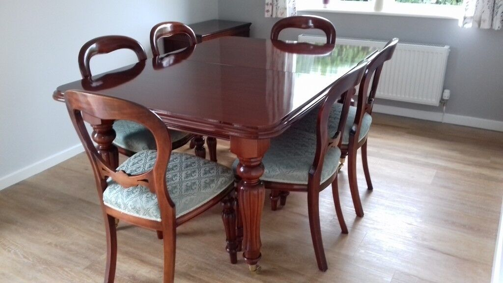 Mahogany Dining Room Table Chairs Replica Victorian