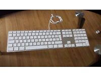 Genuine Apple Wired Aluminium USB Keyboard A1243 Full Size with Numeric Keypad