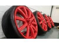 "Five stud multifit 18"" 5x100 5x114.3 alloy wheels + 2 tyres Honda VW Audi Seat Skoda"