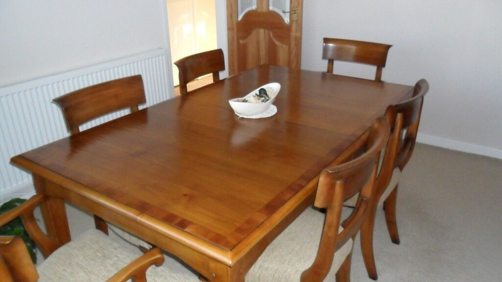 Solid Cherry Wood Dining Table 6 Chairs With Matching Sideboard