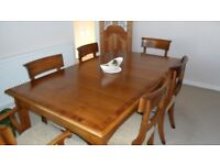 Solid Cherry Wood Dining table & 6 chairs with matching sideboard