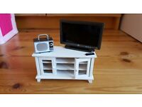 Miniature cabinet, TV (with remote) and radio for dolls house