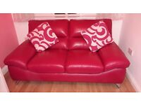 PINK SOFOLOGY 2 SEATER LEATHER SOFA - AS NEW CONDITION, BARELY SAT ON