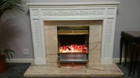 Electric Fireplace, marble base and back, wood effect frame, sparkling stones