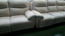 Touch Fabric cream 3+2 seater electric reclining sofa