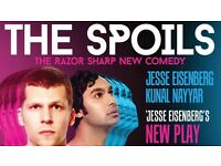 Jesse Eisenberg in The Spoils- 2 x STALLS ROW L - Friday 12th August FOR SALE AT FACE VALUE'