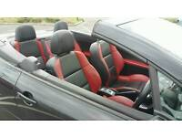Peugeot 307 coupe convertible black red leather seats