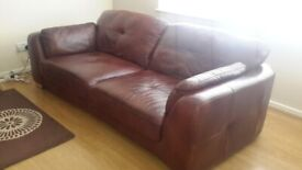 THREE SEATER LEATHER SOFA FROM SOFOLGY IN GOOD CONDITION.