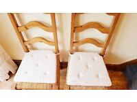 Twin pine country cottage chairs with washable seat cushions - pristine condition