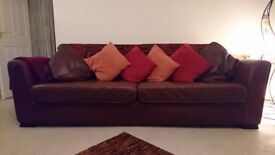 Large brown genuine leather sofa, good condition £89 ono
