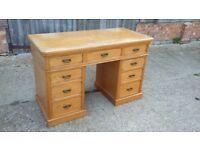 Vintage Ash Knee Hole Pedestal Desk Splits