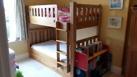Solid ash bunkbed with lacquered finish and trundle drawer