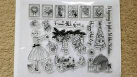 HAPPY HOLIDAYS 21 x VINTAGE STYLE CLEAR RUBBER STAMPS - BRAND NEW