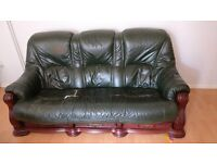 FREE Green real leather/solid wood three seater sofa