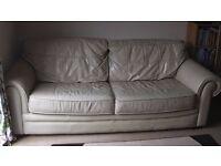 Cream Leather Large 3seater Sofa FREE