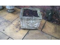 Square Cast Stone Garden Planter with Flower Effect'