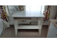 Ikea white wooden office desk and black office chair