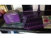 Purple toaster and draining board
